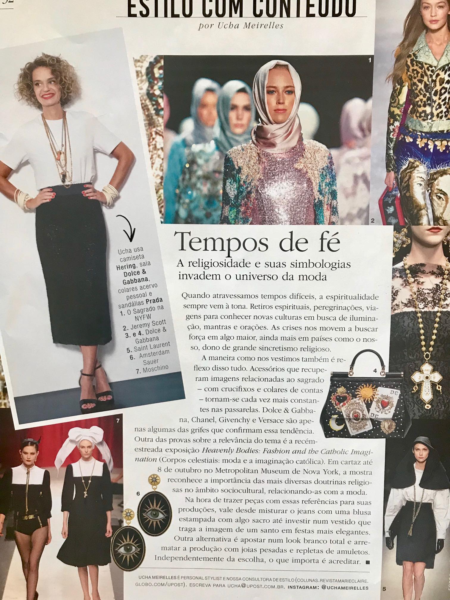 e7b2f2fa8672 A Marie Claire ( maio/18 ) trouxe uma matéria linda sobre essa tendência  religiosa que está em alta na moda. Certamente, estando em tempos de crise  a moda ...